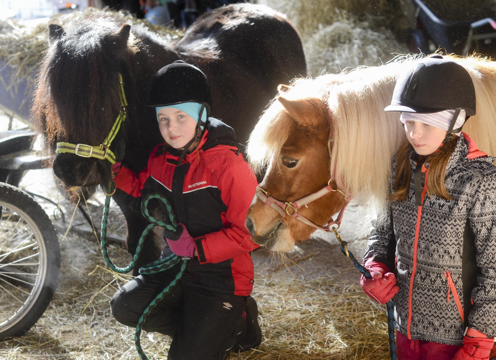 Aino ja Sofia Väänänen poseeraavat Gale ja Centa -ponien kanssa.