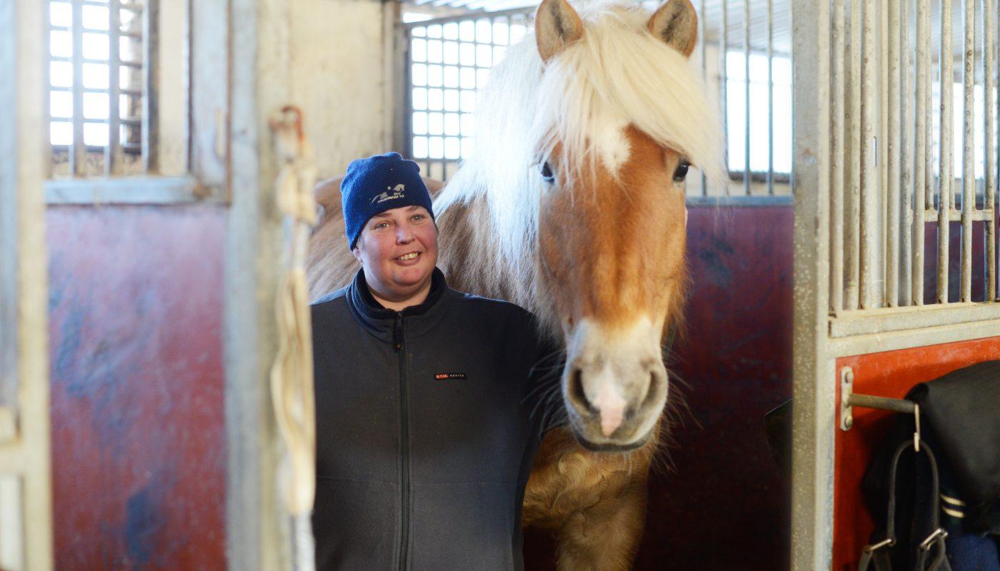 Pauliina Annala on pitkän linjan ammattilainen, jonka tallissa on aina ollut niin ratsuja kuin ravihevosiakin. Työtä tehdään sydämellä ja tärkeintä on eläinten hyvinvointi. Kuvassa myös Lasse Vähäkankaan omistama suomenhevosruuna Vaaran Epeli.